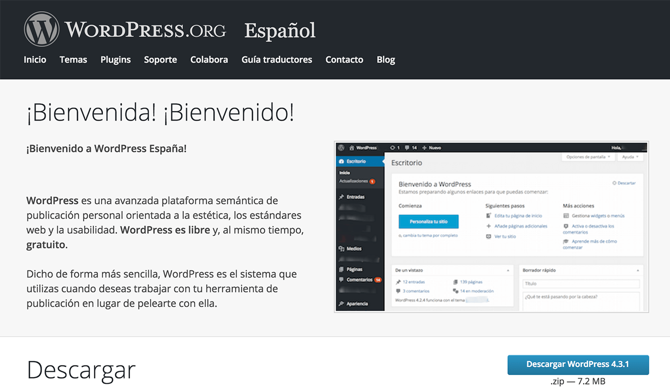 Captura de pantalla de wordpress.org