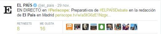 Captura de la aplicación Periscope de El País