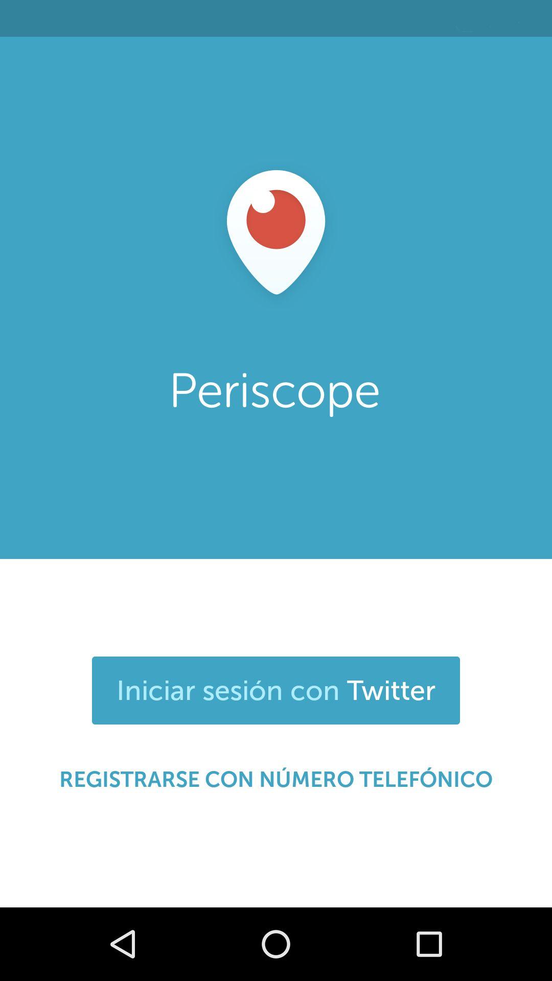 inicio aplicación Periscope