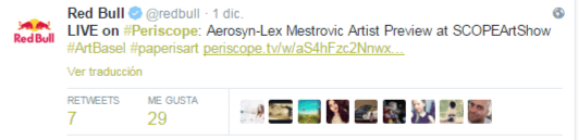 Ejemplo de tuit de Persicope