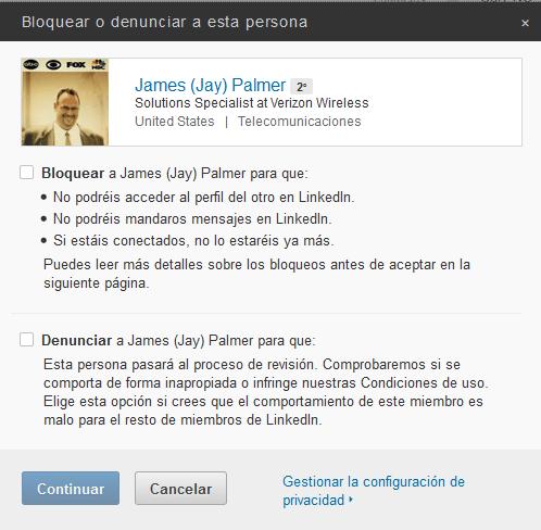bloquear un contacto de LinkedIn