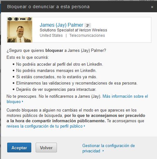 Paso 3 para bloquear un contacto en LinkedIn
