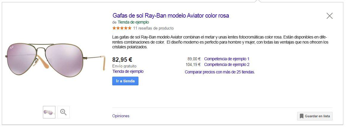 Ejemplo ficticio de ficha de producto en Google Shopping