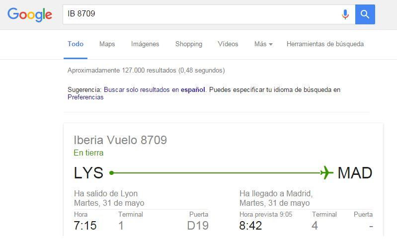 Cómo buscar en Google: estado vuelo