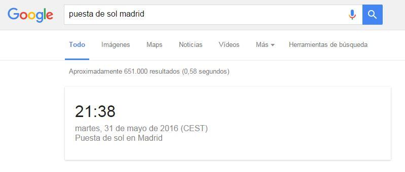 Cómo buscar en Google: puesta de sol