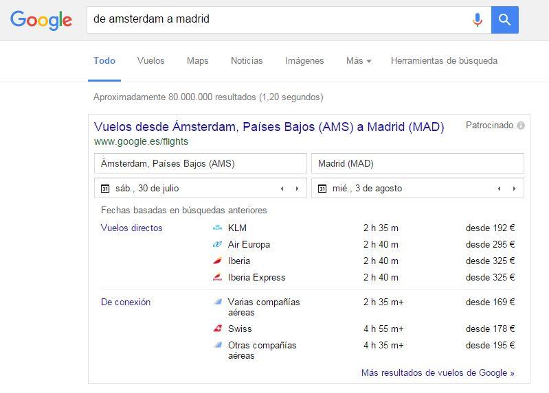 Cómo buscar en Google: comparador de vuelos