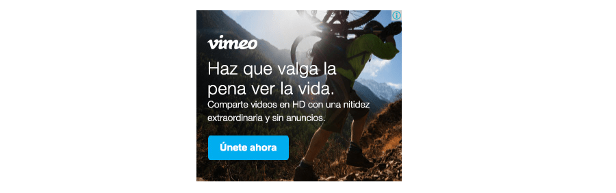 Ejemplo de la red de Display: Vimeo
