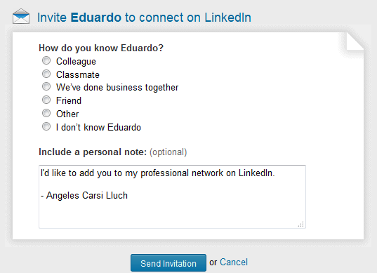 invitacion a conectar en LinkedIn