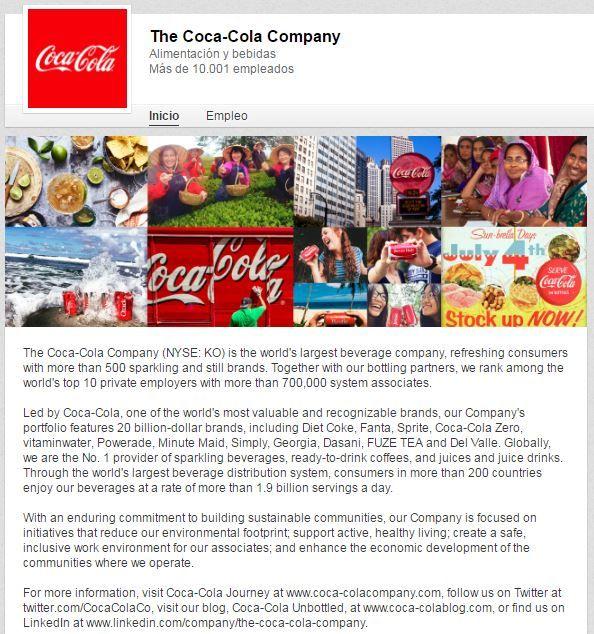Coca Cola en LinkedIn
