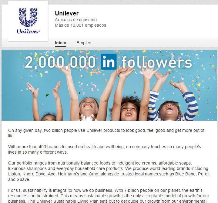 Perfil de empresa de Unilever en LinkedIn
