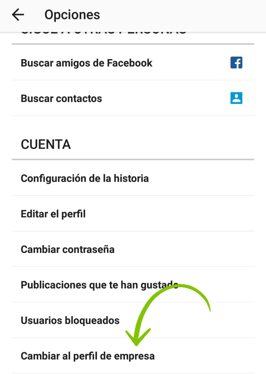 Cambiar perfil personal a Instagram Empresas