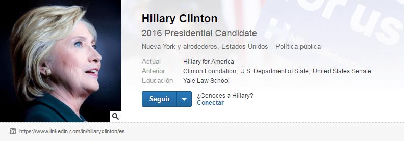 Cuentas de LinkedIn de famosos: Hillary Clinton