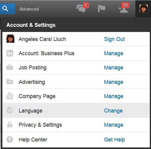 cambiar el idioma en LinkedIn