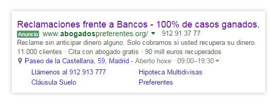 Ejemplo anuncio AdWords marketing jurídico