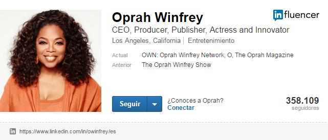 Cuentas de LinkedIn de famosos: Oprah Winfrey