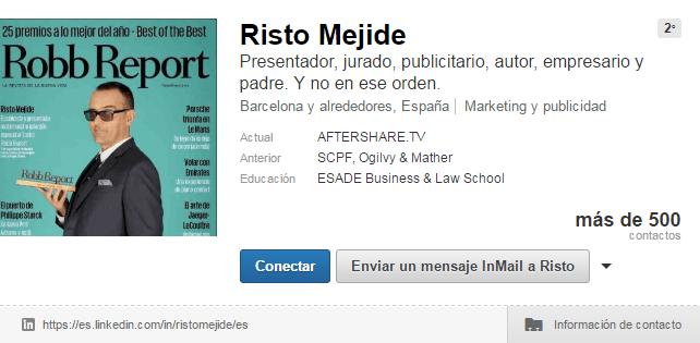 Cuentas de LinkedIn de famosos: Risto Mejide
