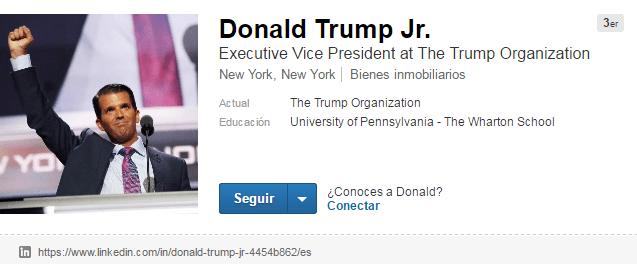 Cuentas de LinkedIn de famosos: Donald Trump Jr