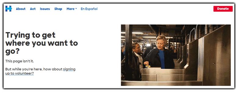 Ejemplo página de error 404: Hillary Clinton