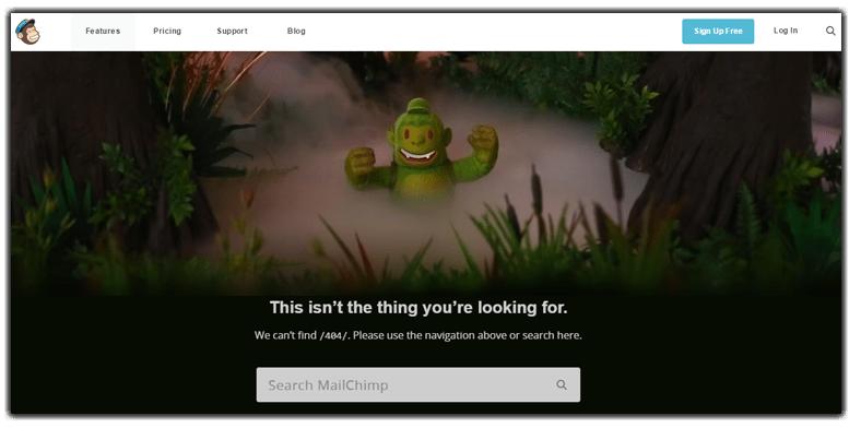 Ejemplo página de error 404: MailChimp