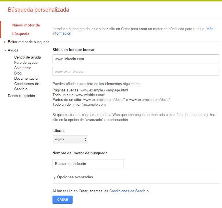 Búsqueda personalizada en Google: Paso 1