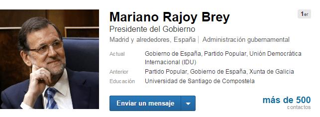 Mariano Rajoy político en Linkedin