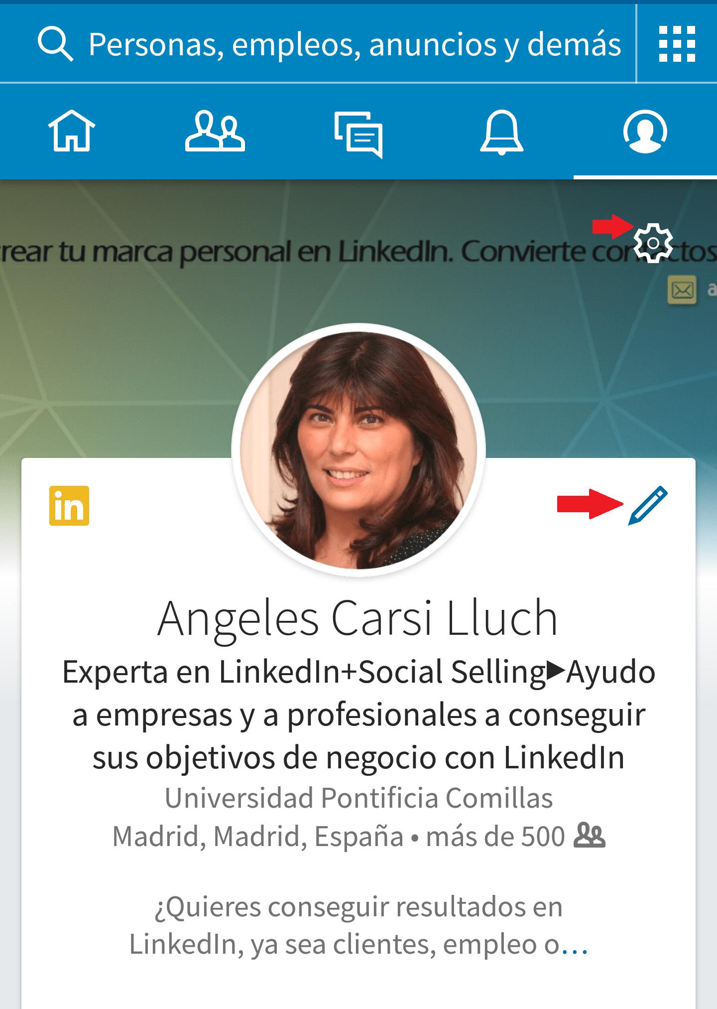 editar perfil de LinkedIn
