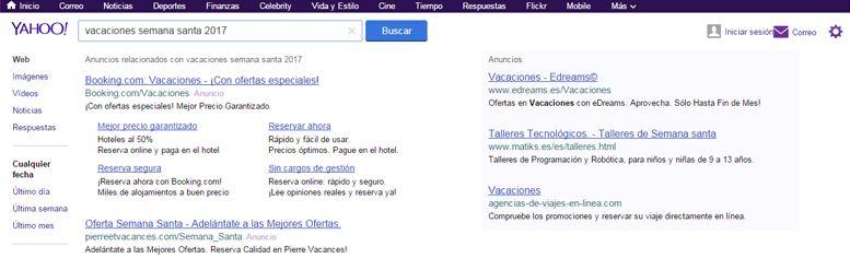 Publicidad en motores de búsqueda: Yahoo!