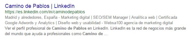 Posicionamiento en redes sociales: ejemplo LinkedIn