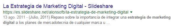 Posicionamiento en redes sociales: ejemplo Slideshare