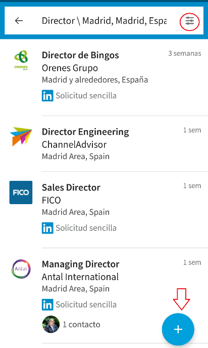 Resultados LinkedIn Job Search