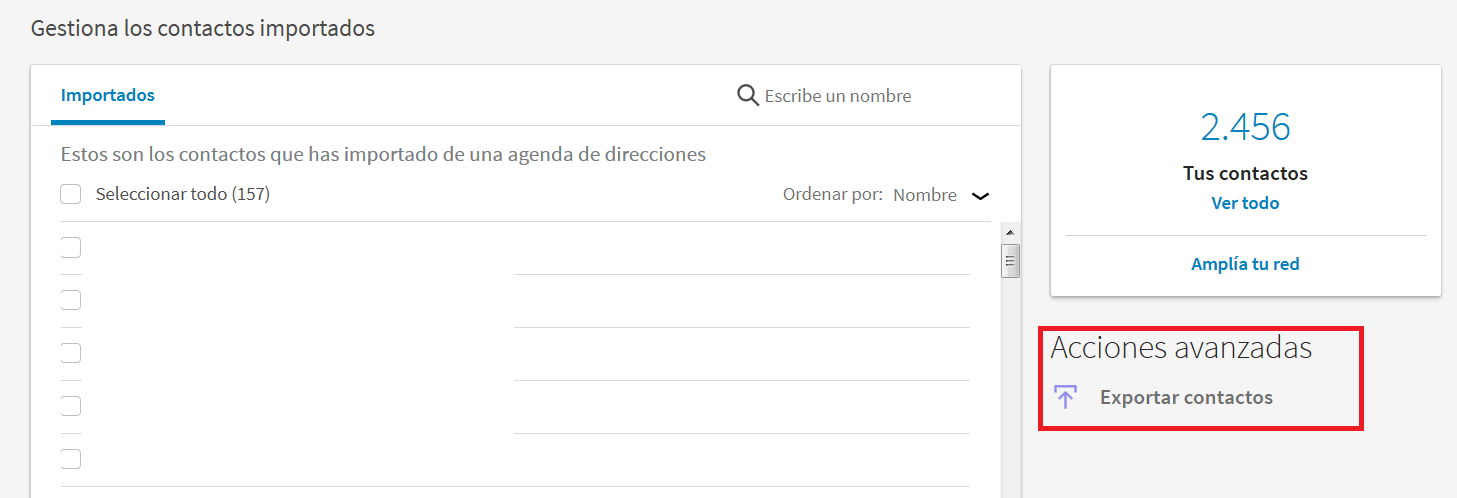 pantalla gestiona contactos importados
