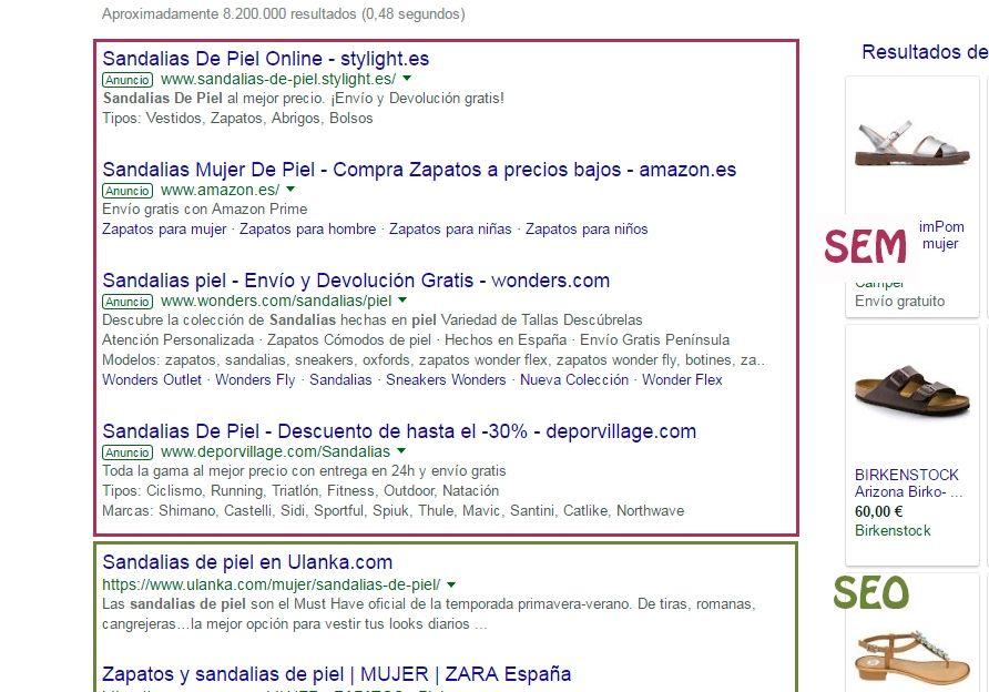 ejemplo de posicionamiento seo y sem en google