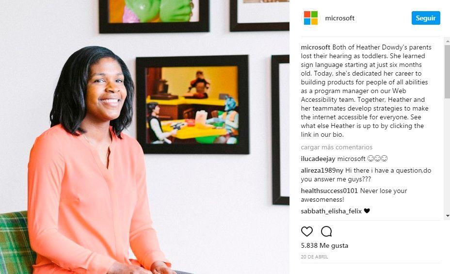 Ejemplo como usar instagram: microsoft
