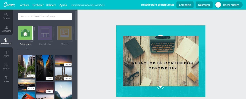 Diseñar fondo LinkedIn: Canva