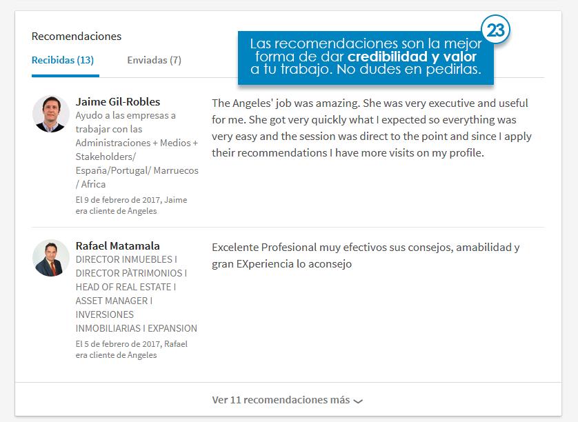 perfil linkedin recomendaciones
