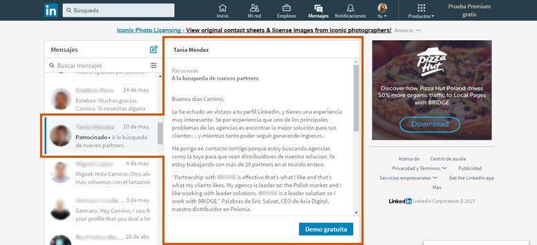 Publicidad en LinkedIn | InMails patrocinados