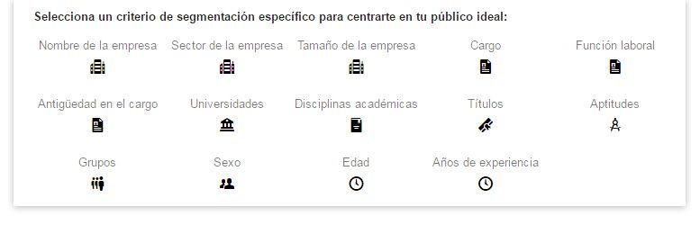 Publicidad en LinkedIn | Opciones de Segmentación
