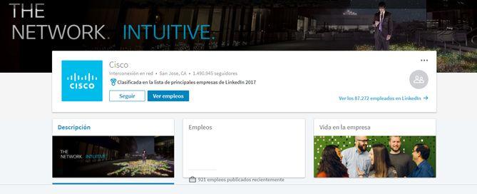 Cisco pagina de empresa en LinkedIn