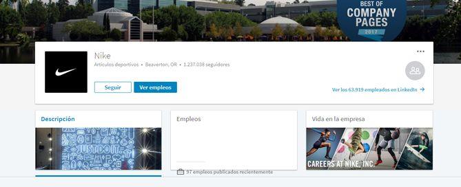 Nike pagina de empresa en LinkedIn