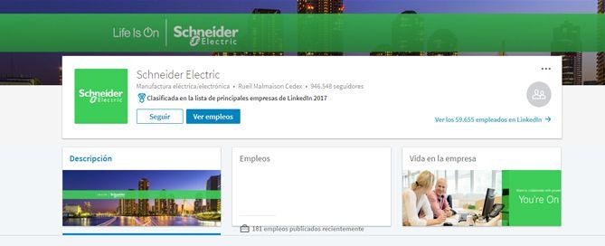 Schneider Electric pagina de empresa en LinkedIn