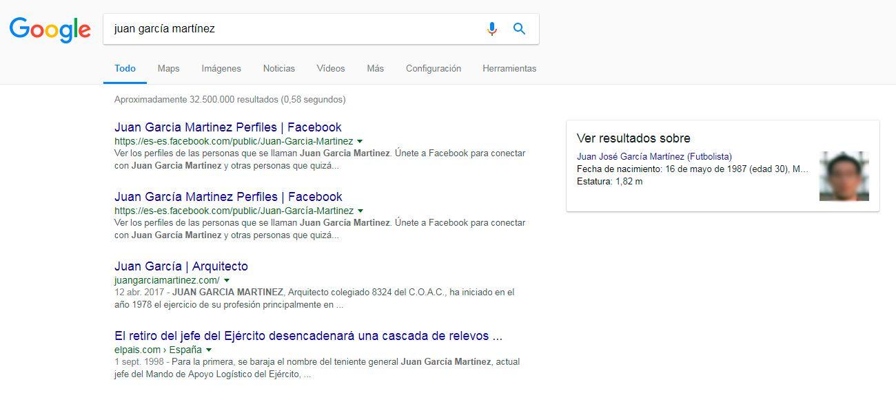 Imagen personal en Google - ejemplo