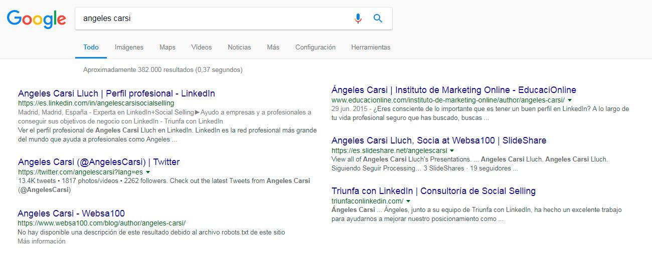 Imagen personal en Google - ejemplo Ángeles Carsi