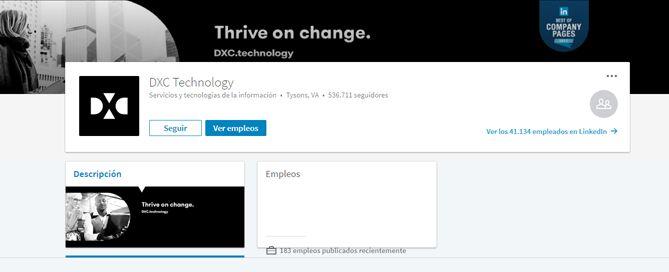 DXC Technology página de empresa en LinkedIn