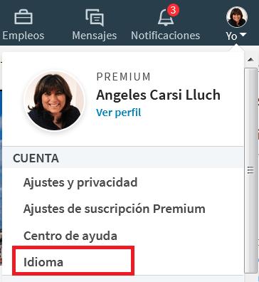 cambiar idioma perfil LinkedIn