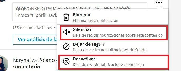 desactivar notificaciones en LinkedIn