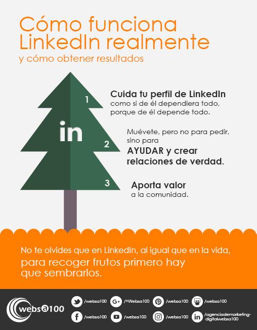 infografia como funciona linkedin