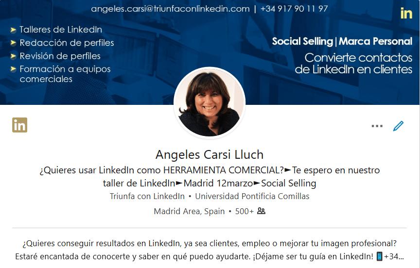 Parte alta del perfil LinkedIn
