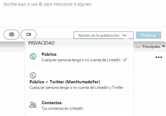 Engagement en LinkedIn - Ajustes de la publicación
