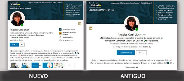 Comparacion perfil LinkedIn antiguo y nuevo