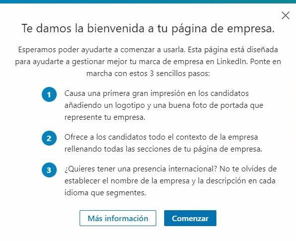 """Crear empresa en LinkedIn - Ventana """"Te damos la bienvenida a tu página de empresa"""""""